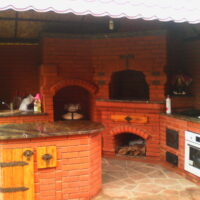 большая летняя кухня из кирпича в подольске 2014