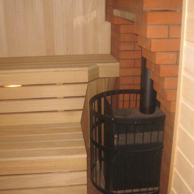 стальная банная печь везувий русичь с кирпичным дымоходом заокский 2008