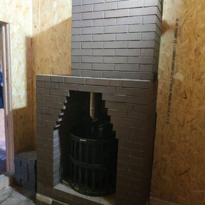 чугунная банная печь везувий скиф ковка с кирпичным дымоходом к.п.рождествено 2018